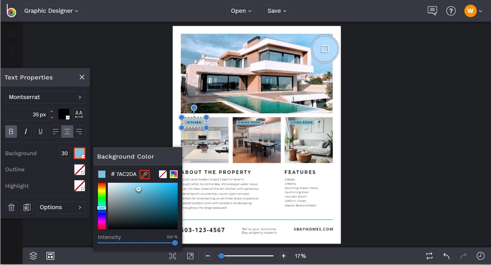create real estate flyers online in BeFunky