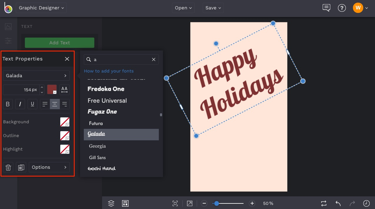 how to add text to design template