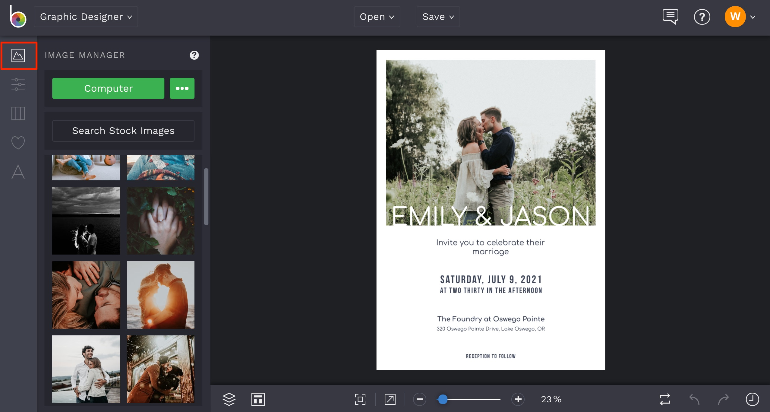 how to add an image to wedding invitation
