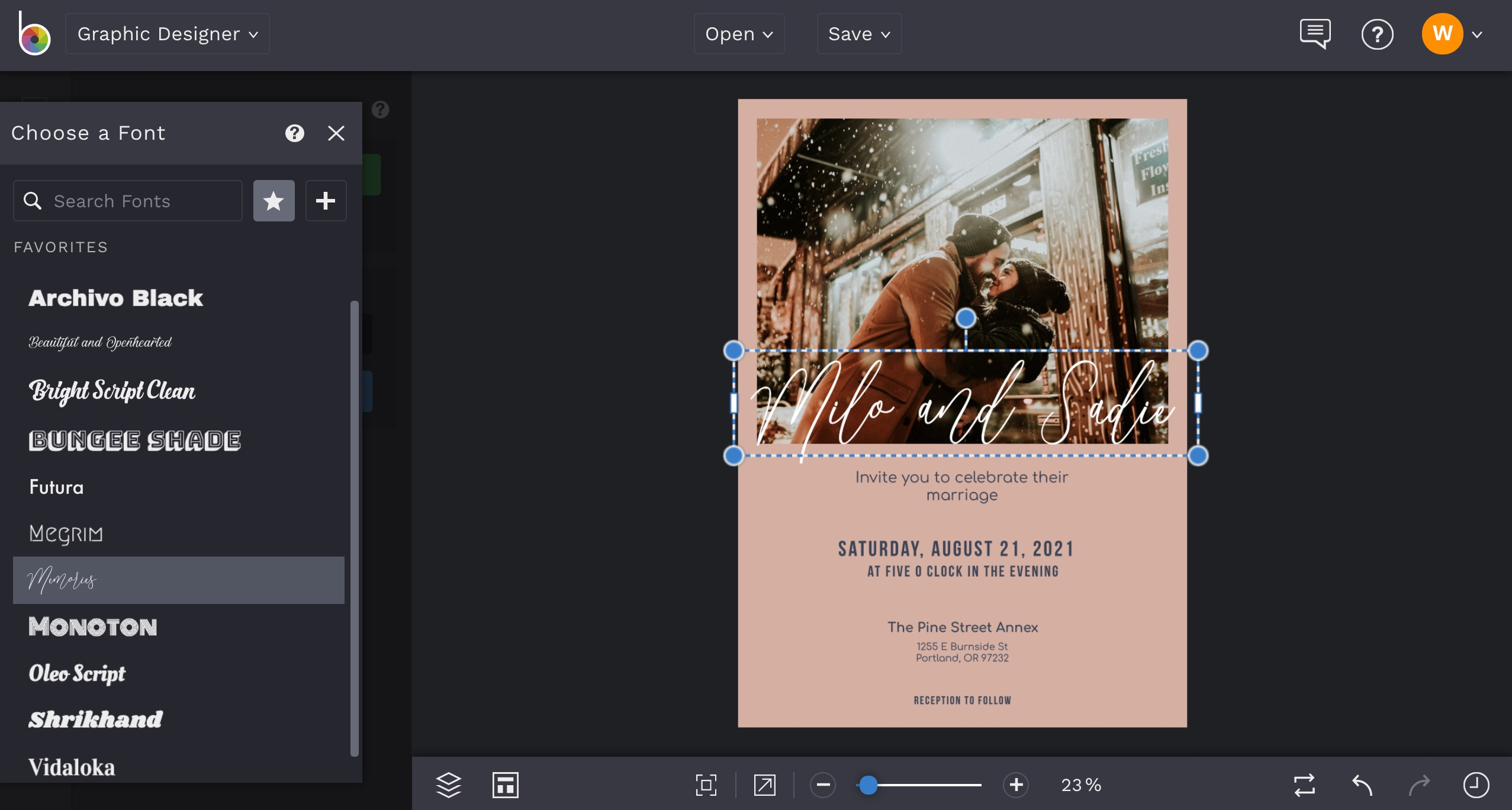 how to create your own wedding invitations online in BeFunky