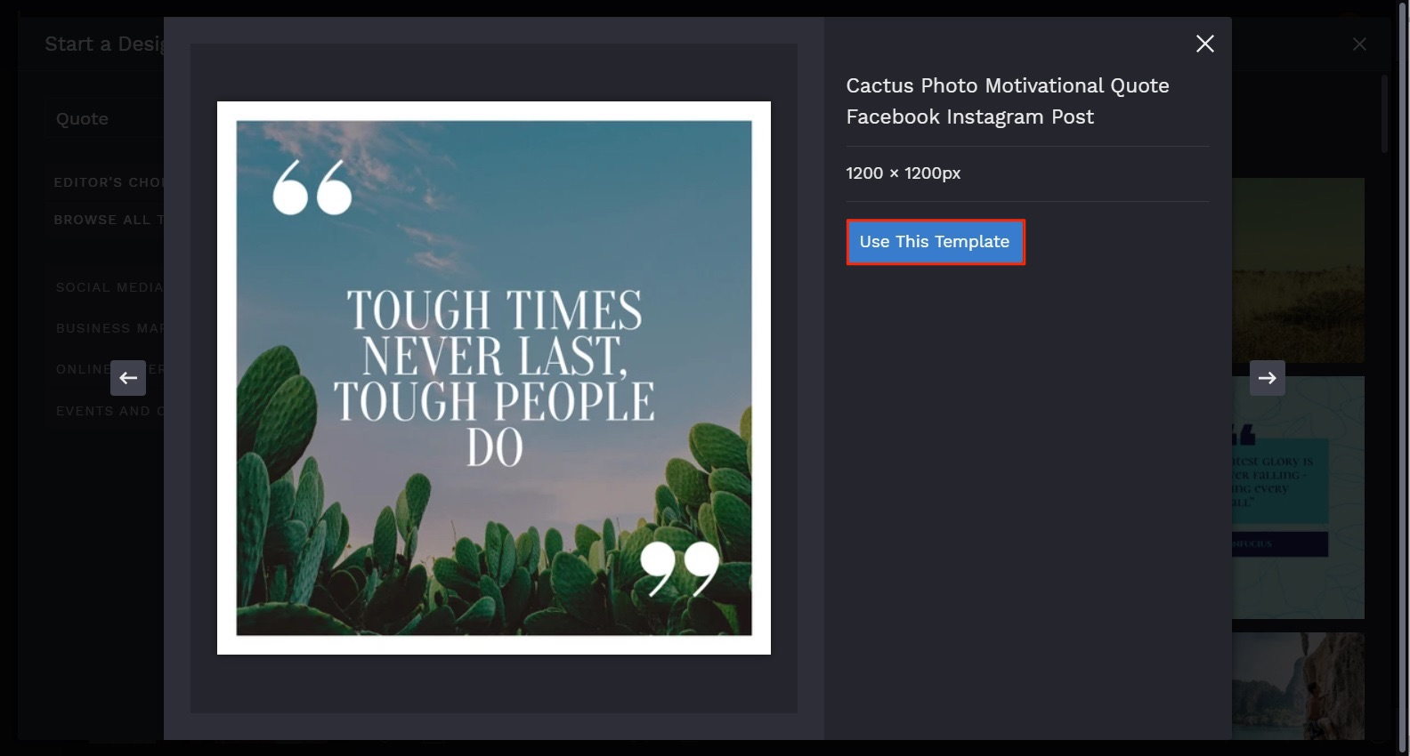 customizable instagram quote template by BeFunky