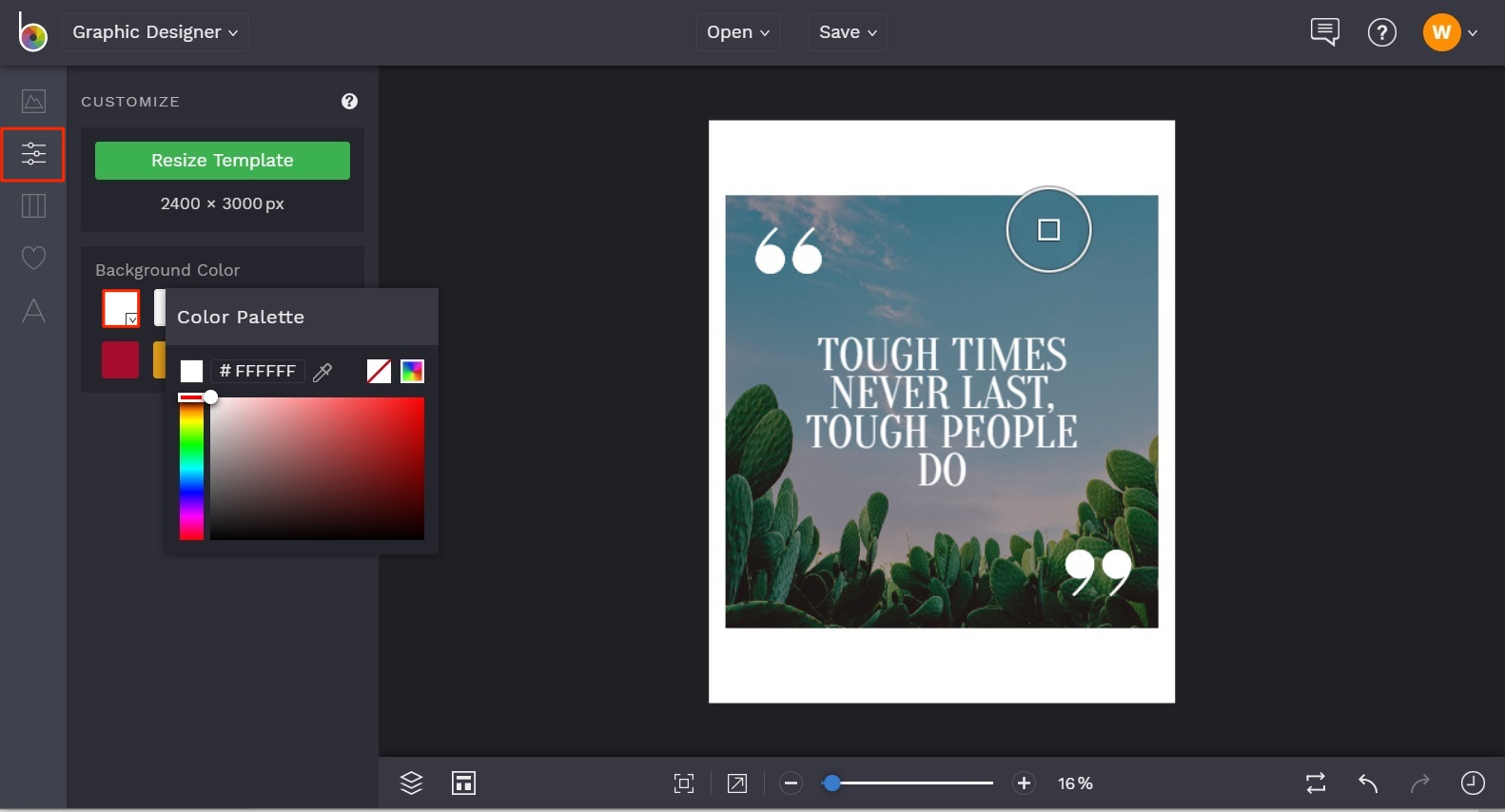 how to change background color of design template in BeFunky