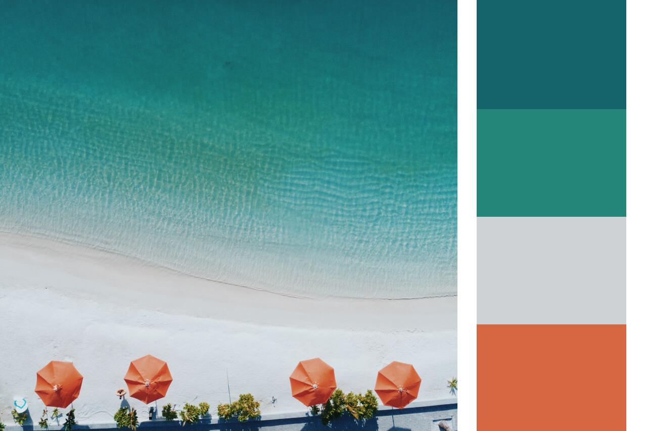 hex color picker beach scene