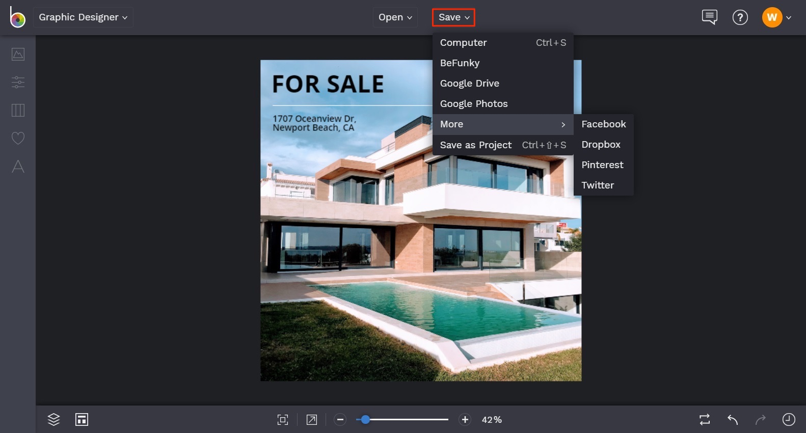 how to create social media graphics for real estate in BeFunky