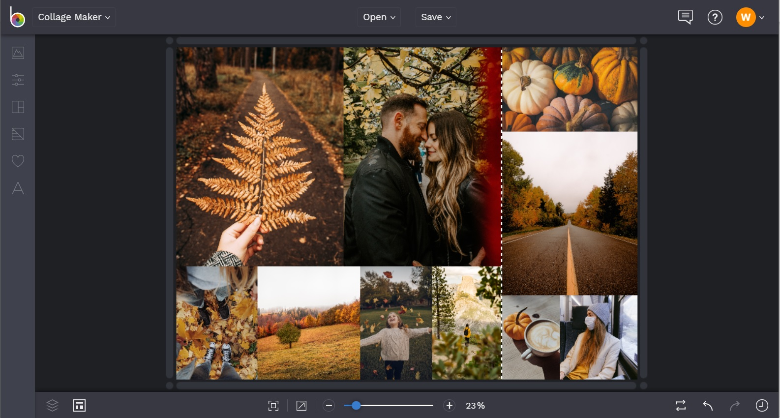 Resize your fall collage images in BeFunky