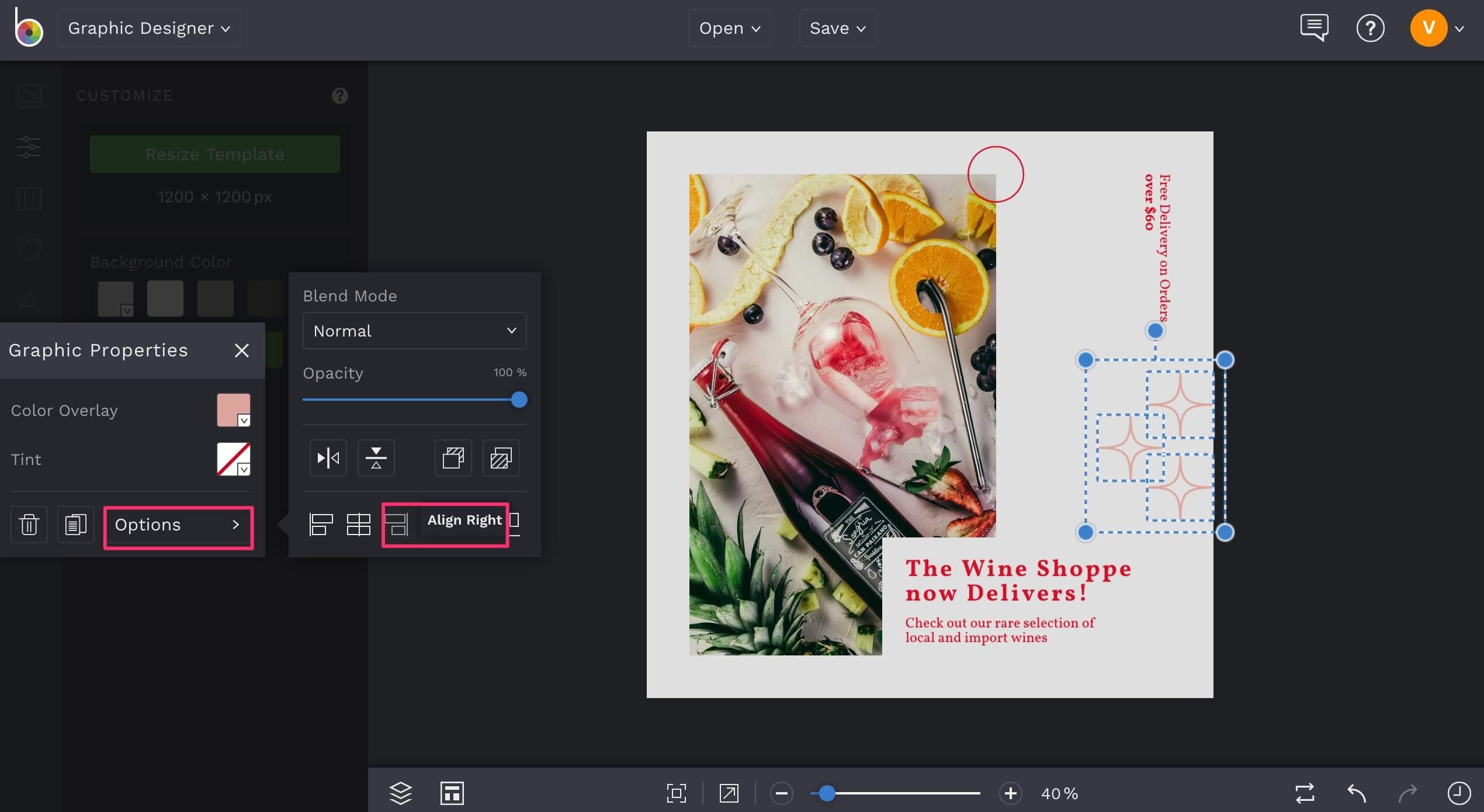 Align graphics in BeFunky