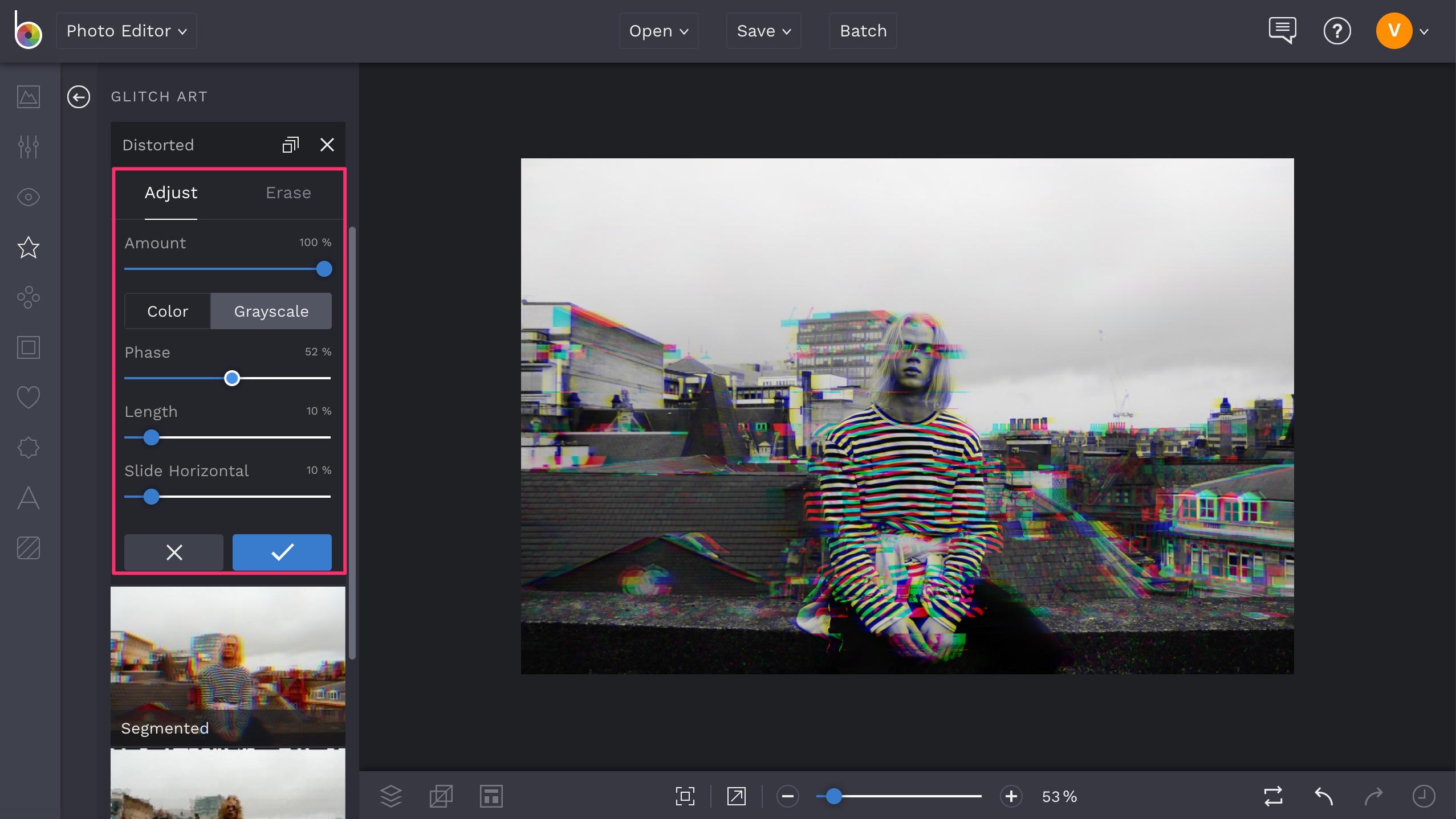 BeFunky glitch effect settings