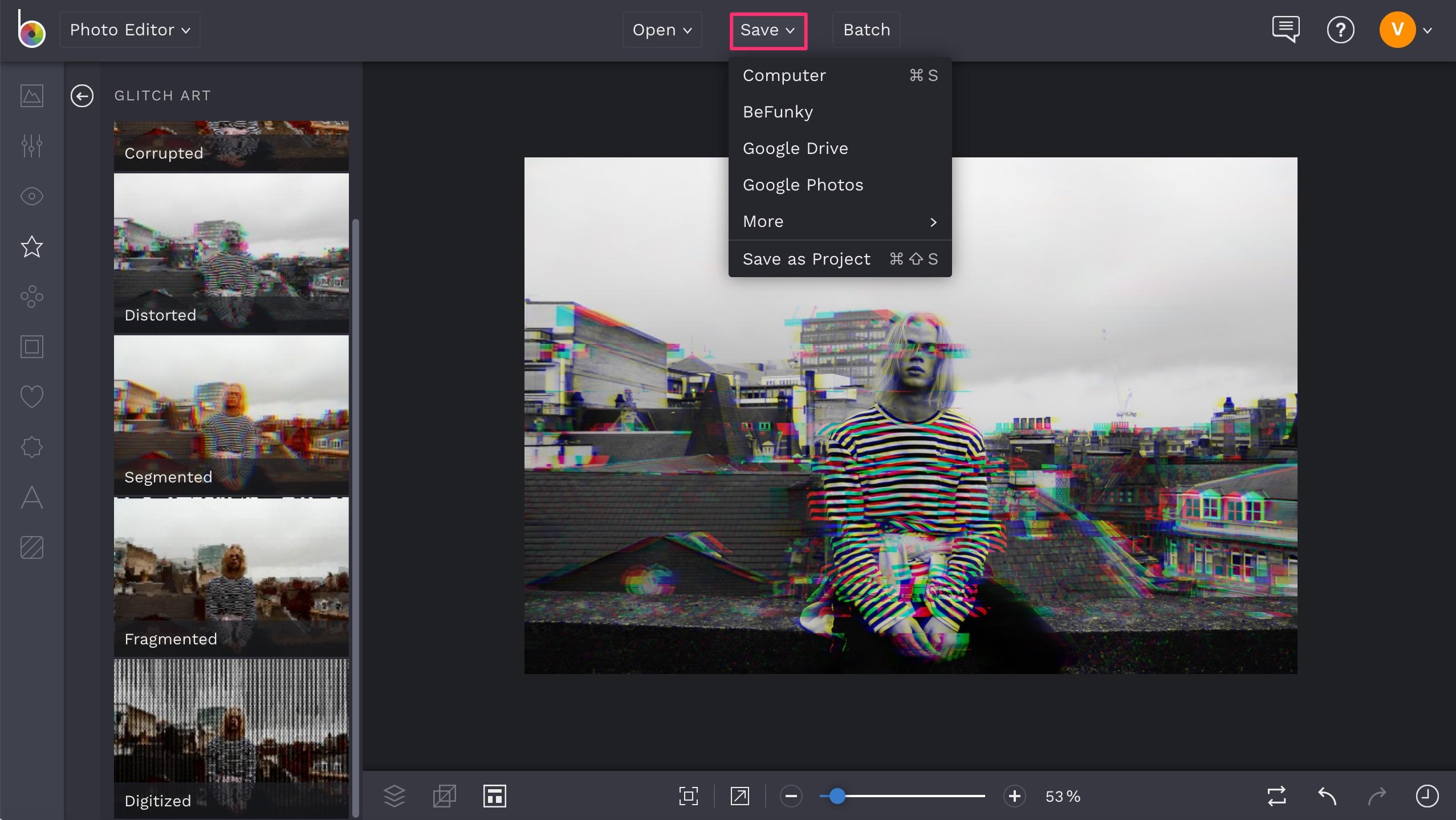 BeFunky glitch art effect save photo