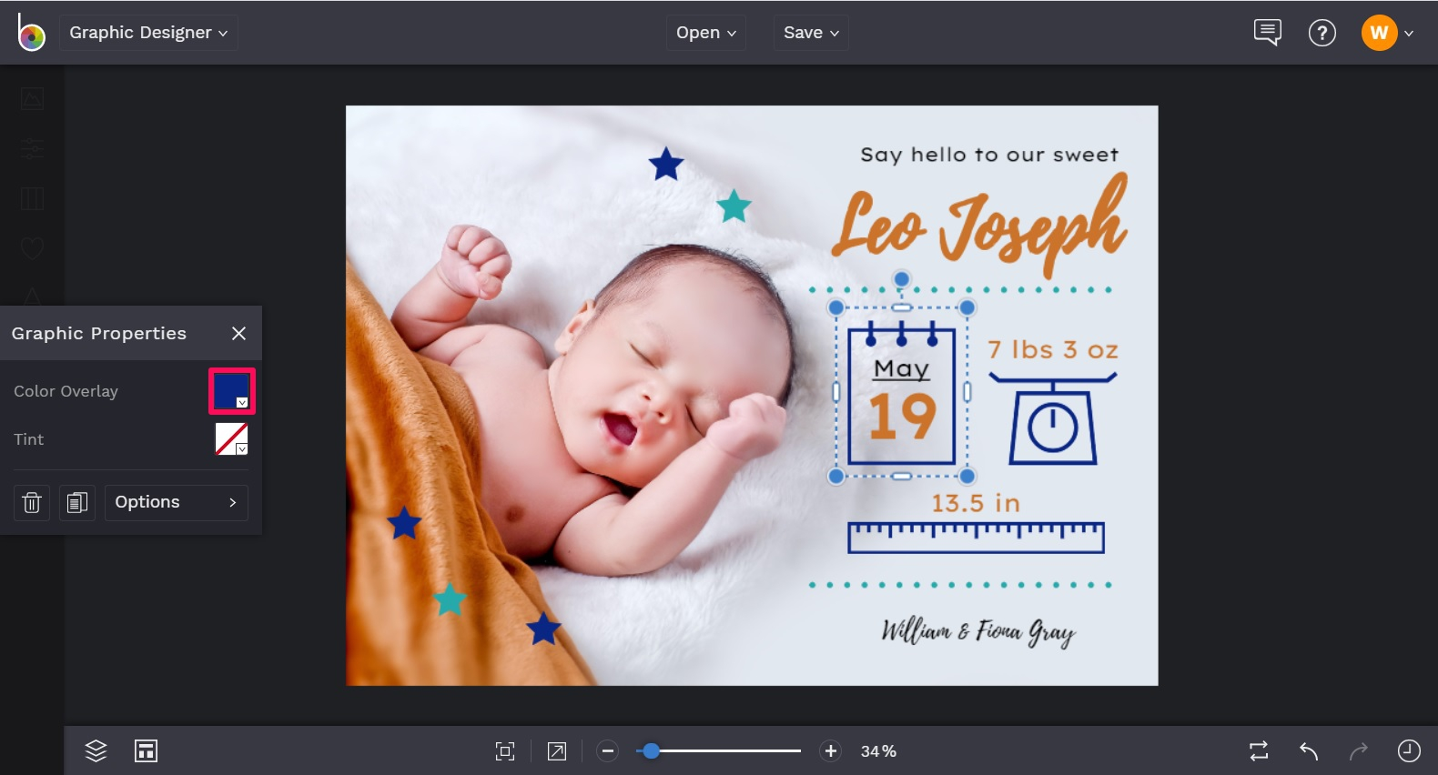 Change the color of graphics in a birth announcement template in BeFUnky designer