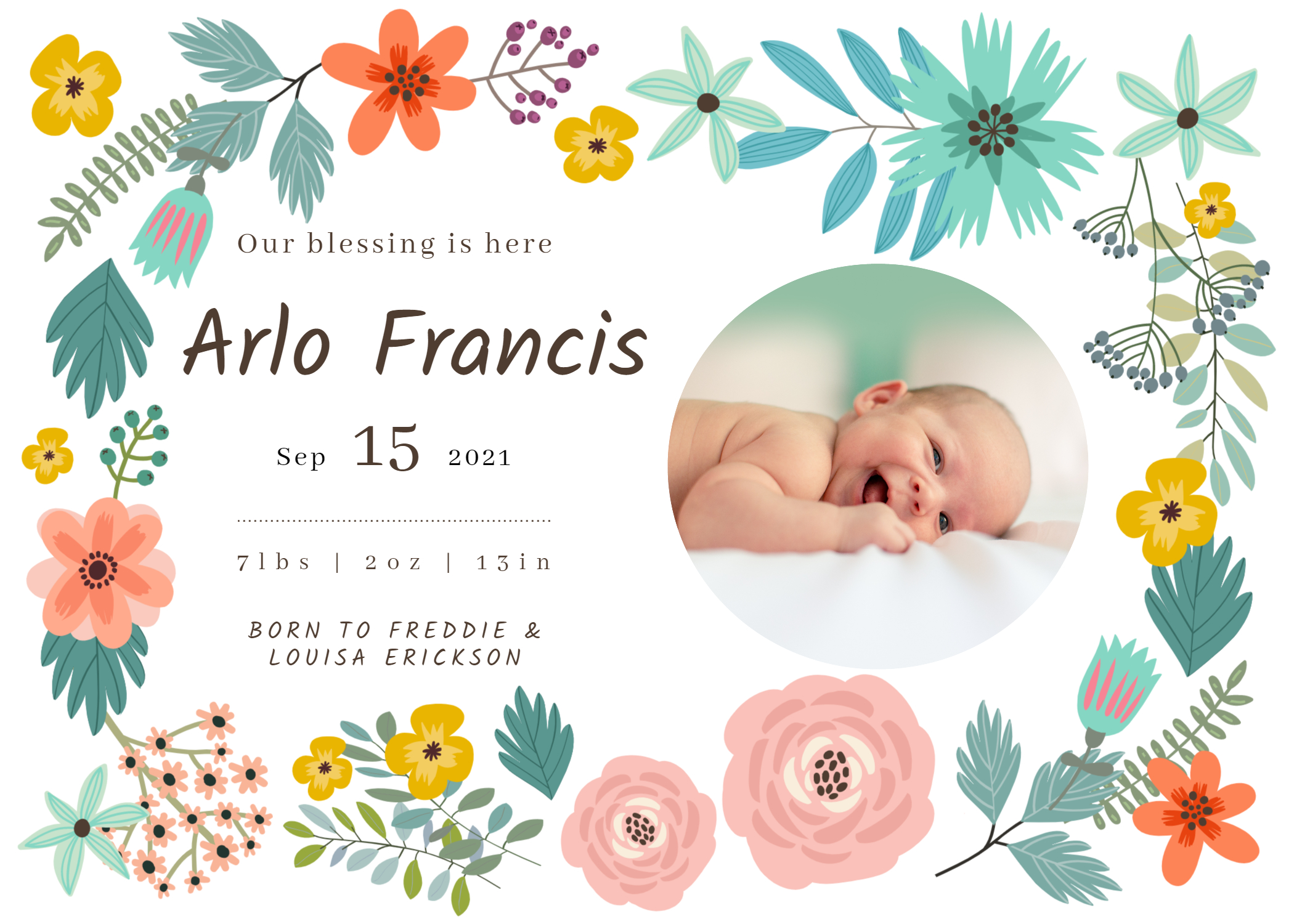 Floral design birth announcement BeFunky template