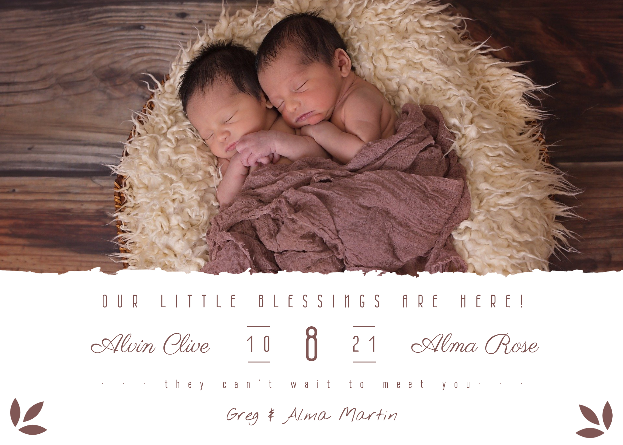 Birth announcement for twins in BeFunky designer
