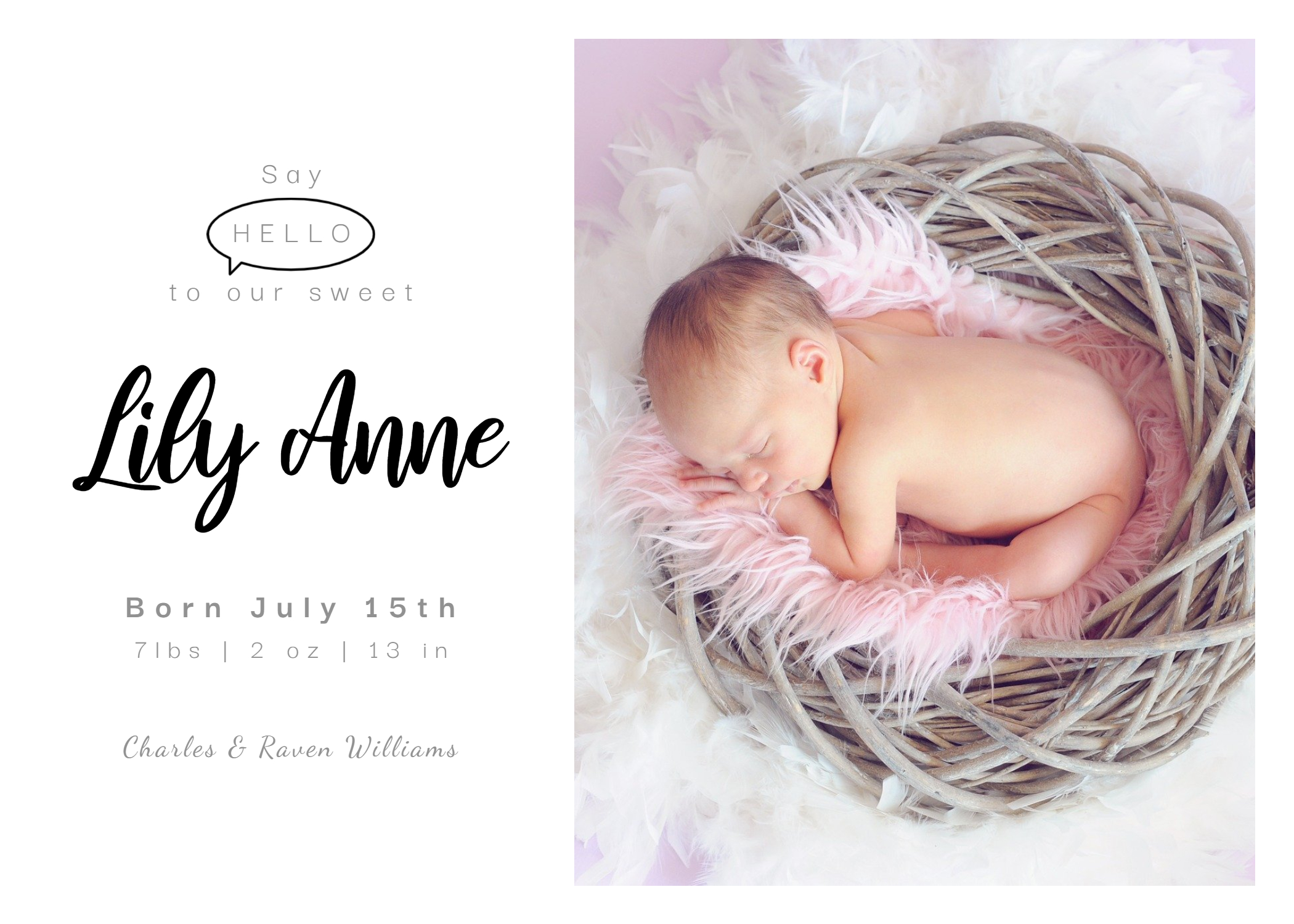 Minimal design birth announcement template in BeFunky