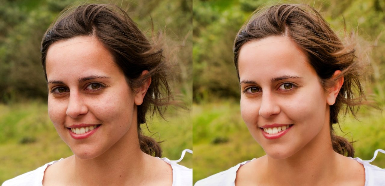 Before and after the A.I. Portrait Enhancer by BeFunky