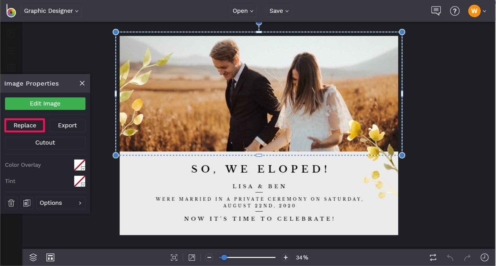 Replace elopement announcement