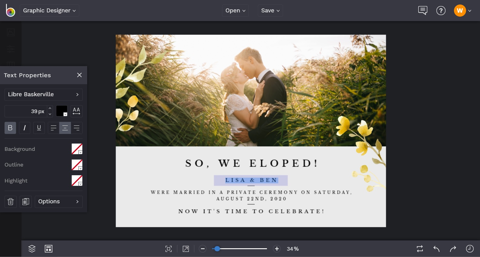 Change text in the elopement announcement