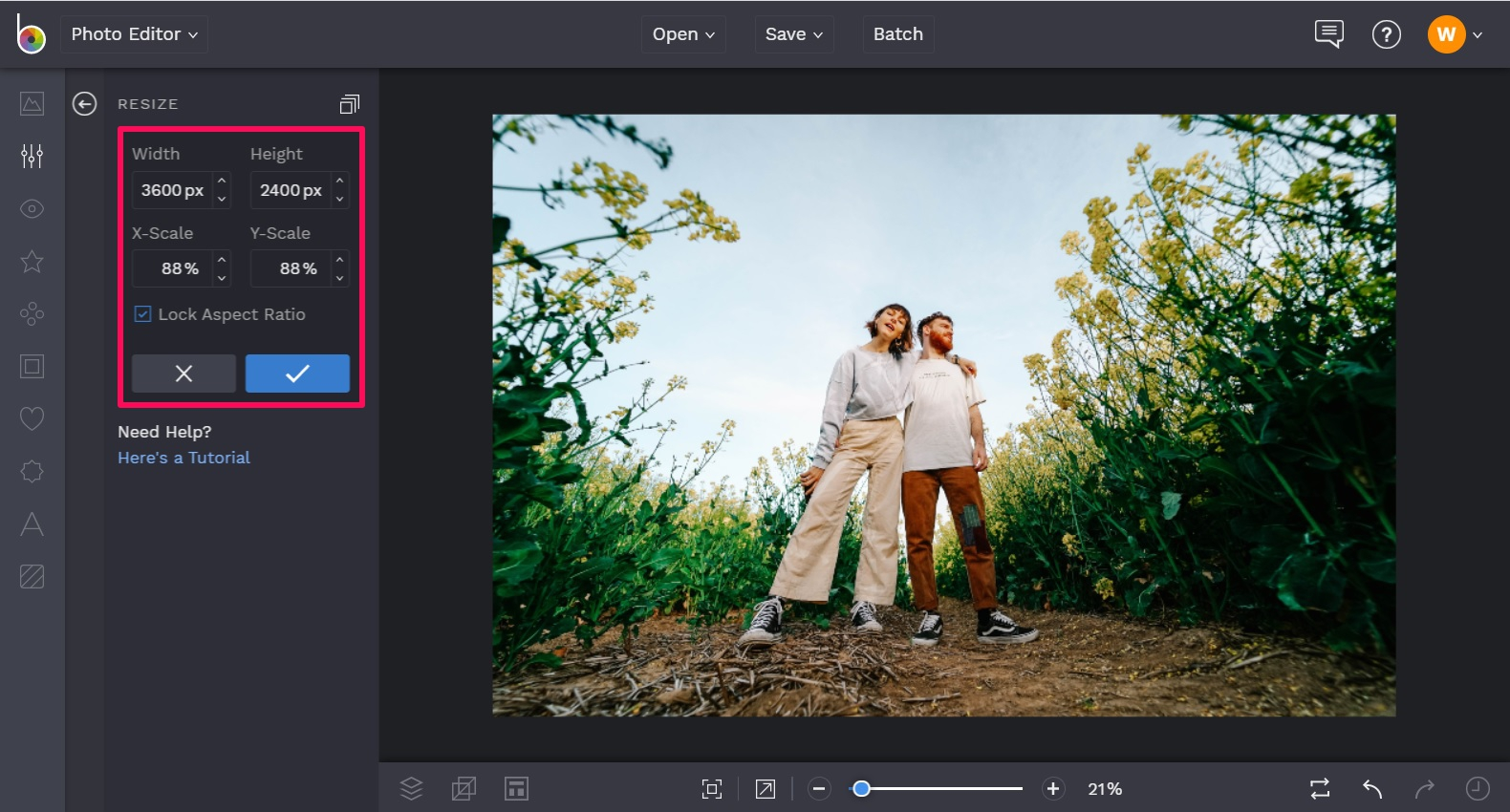 Lock aspect ratio in editing photos for print