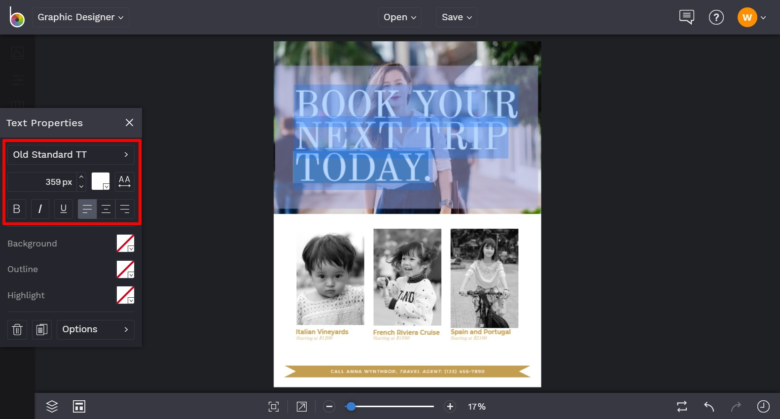 Add text to your yearbook ad template