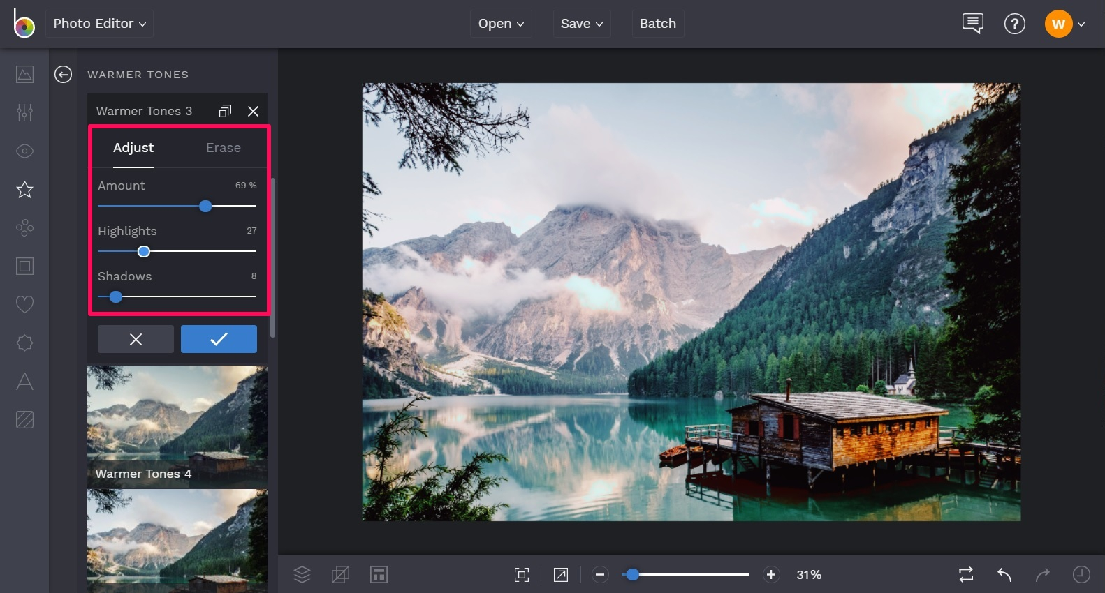 Adjust the tones in your warm tone photography