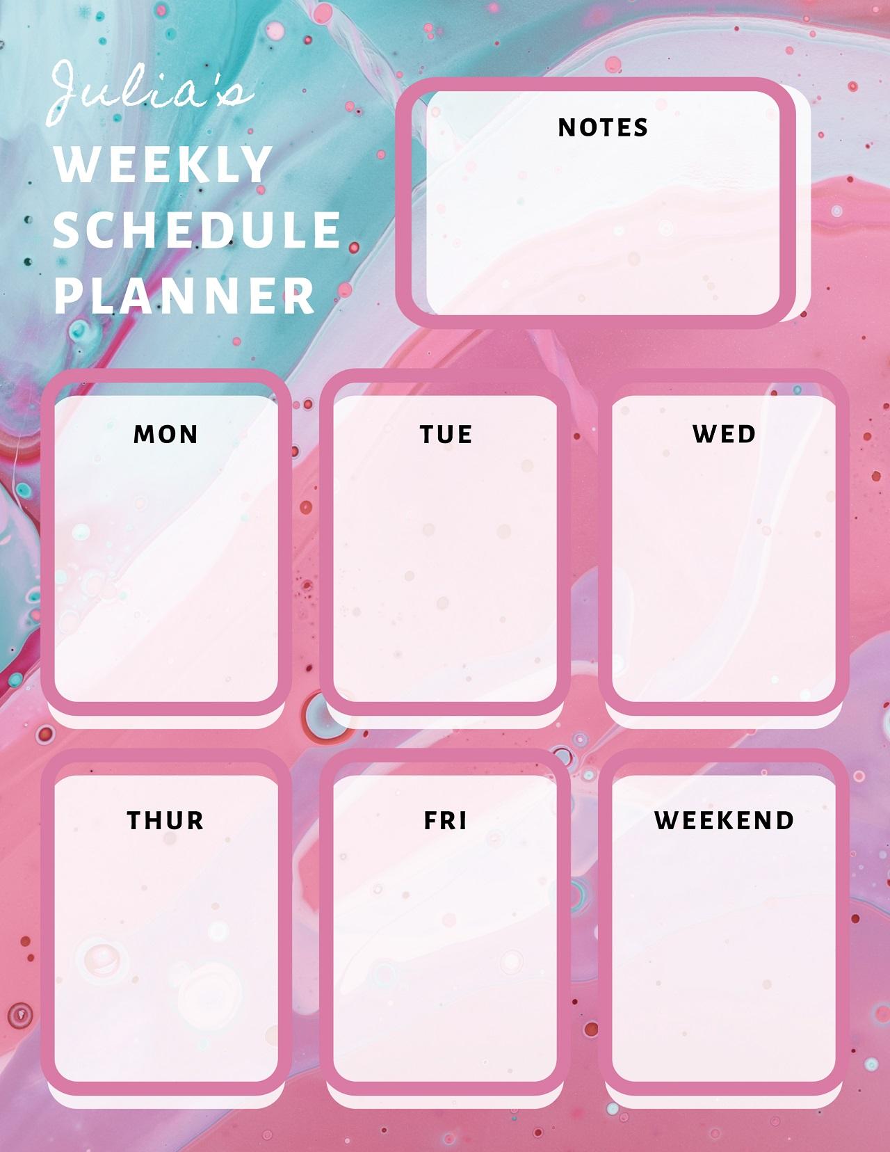 Final custom schedule planner