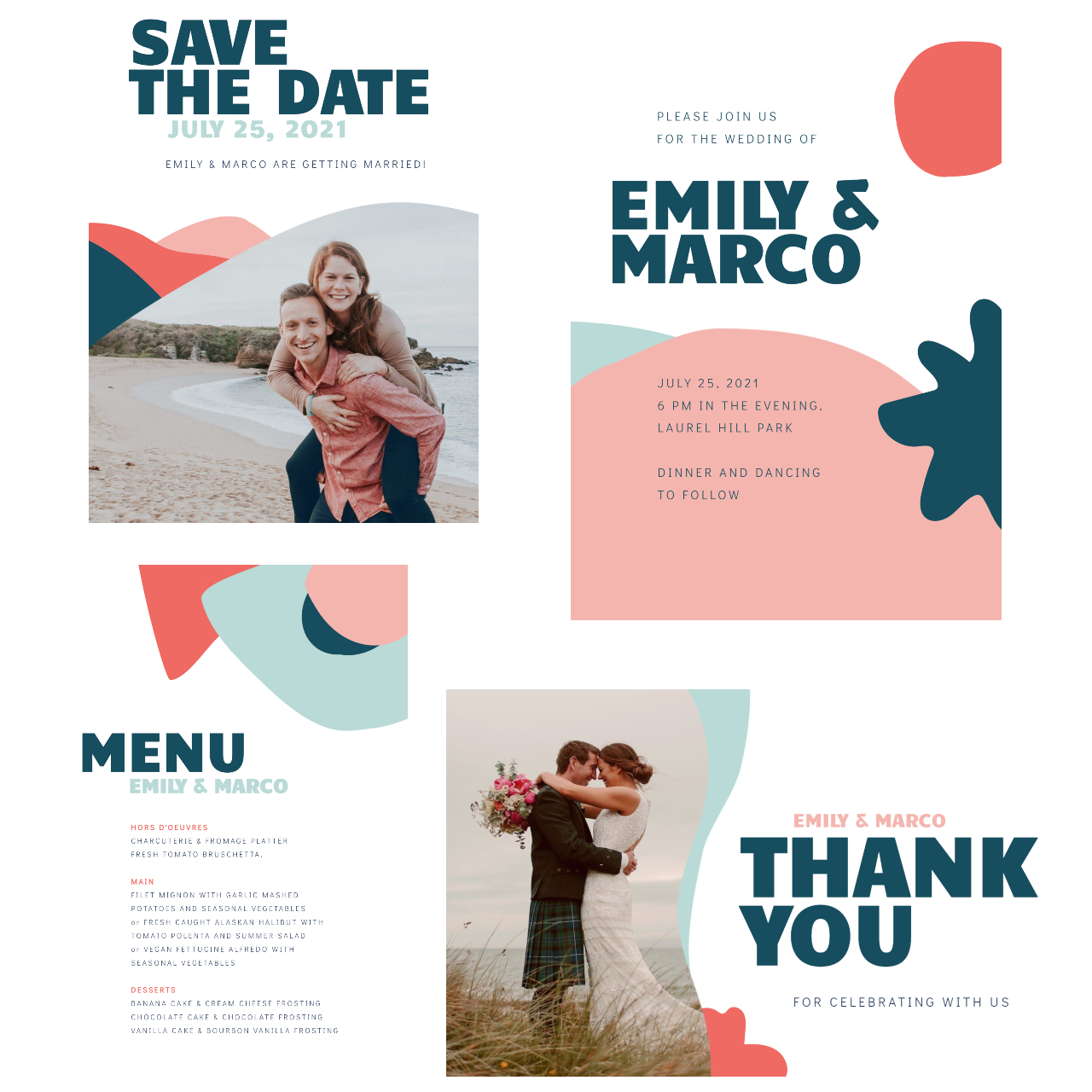 artistic wedding invitation set by BeFunky