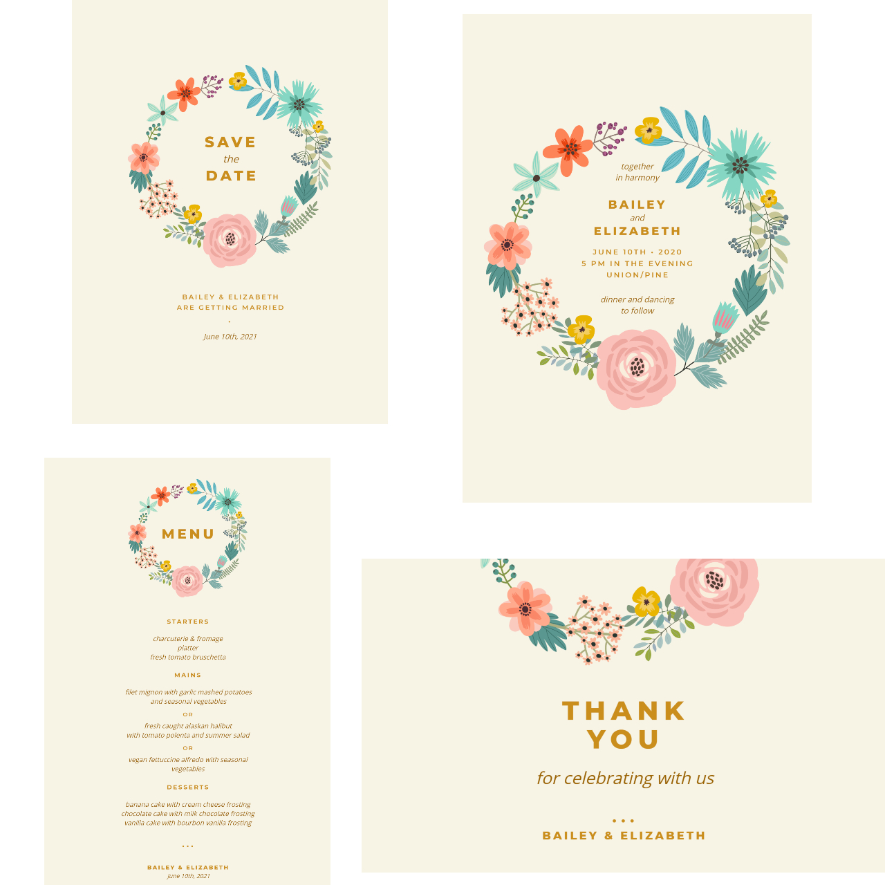 Floral wedding invitation set by BeFunky