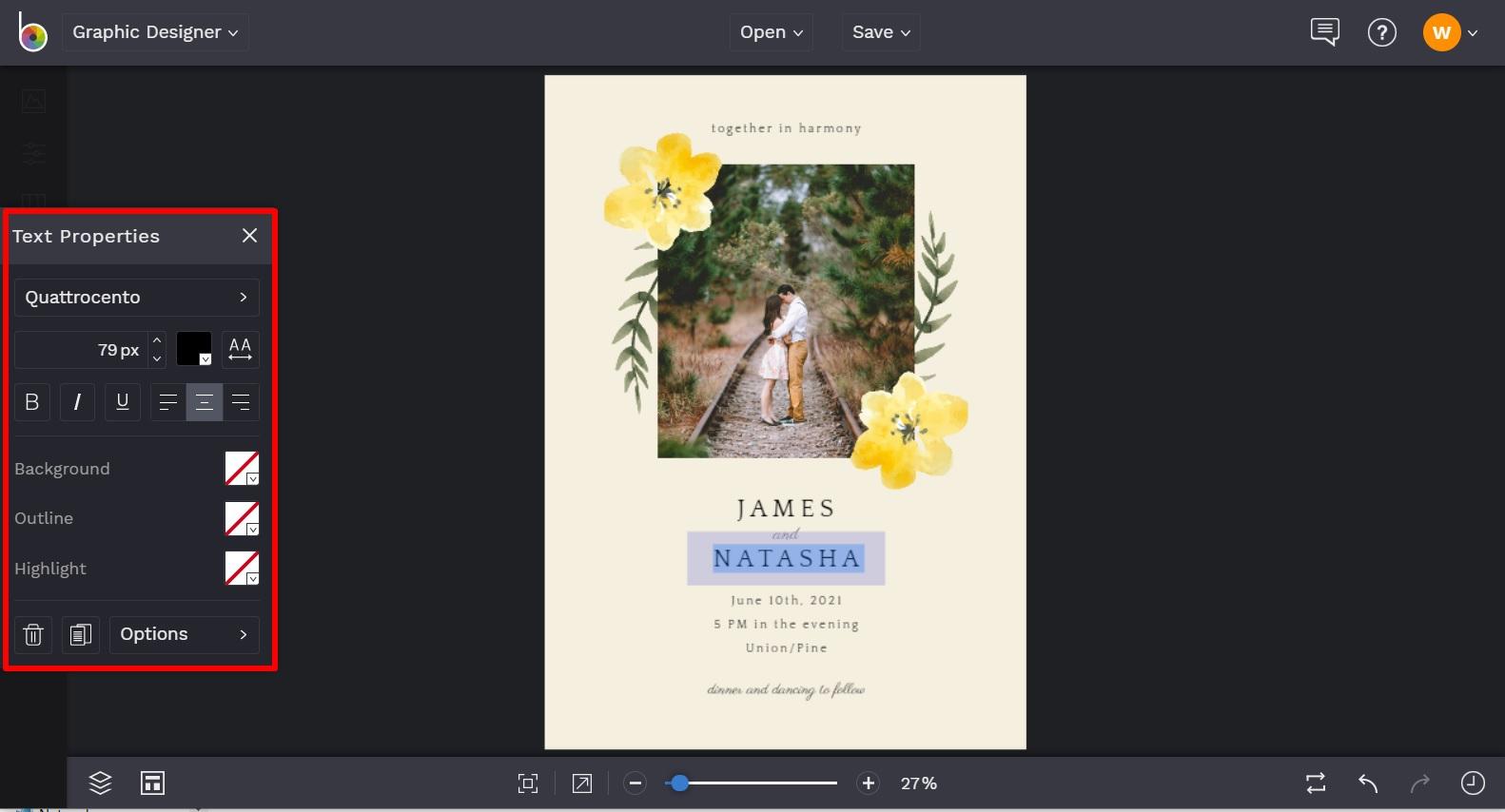 customizable wedding invitation templates by BeFunky