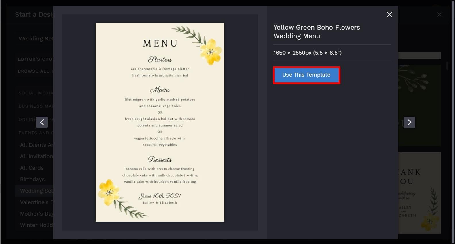 wedding menu template by BeFunky