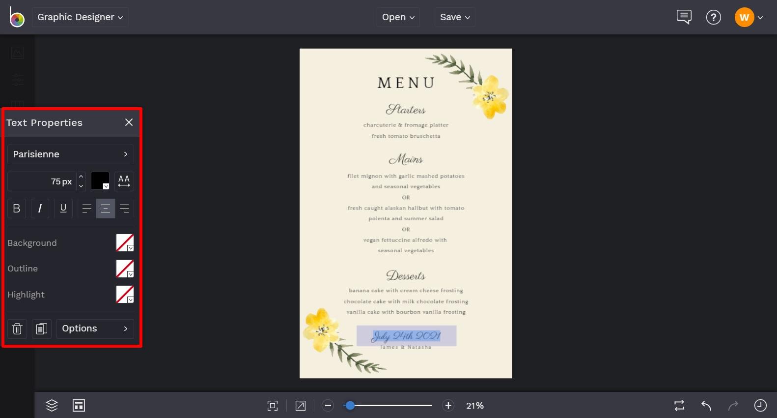 wedding menu maker by BeFunky