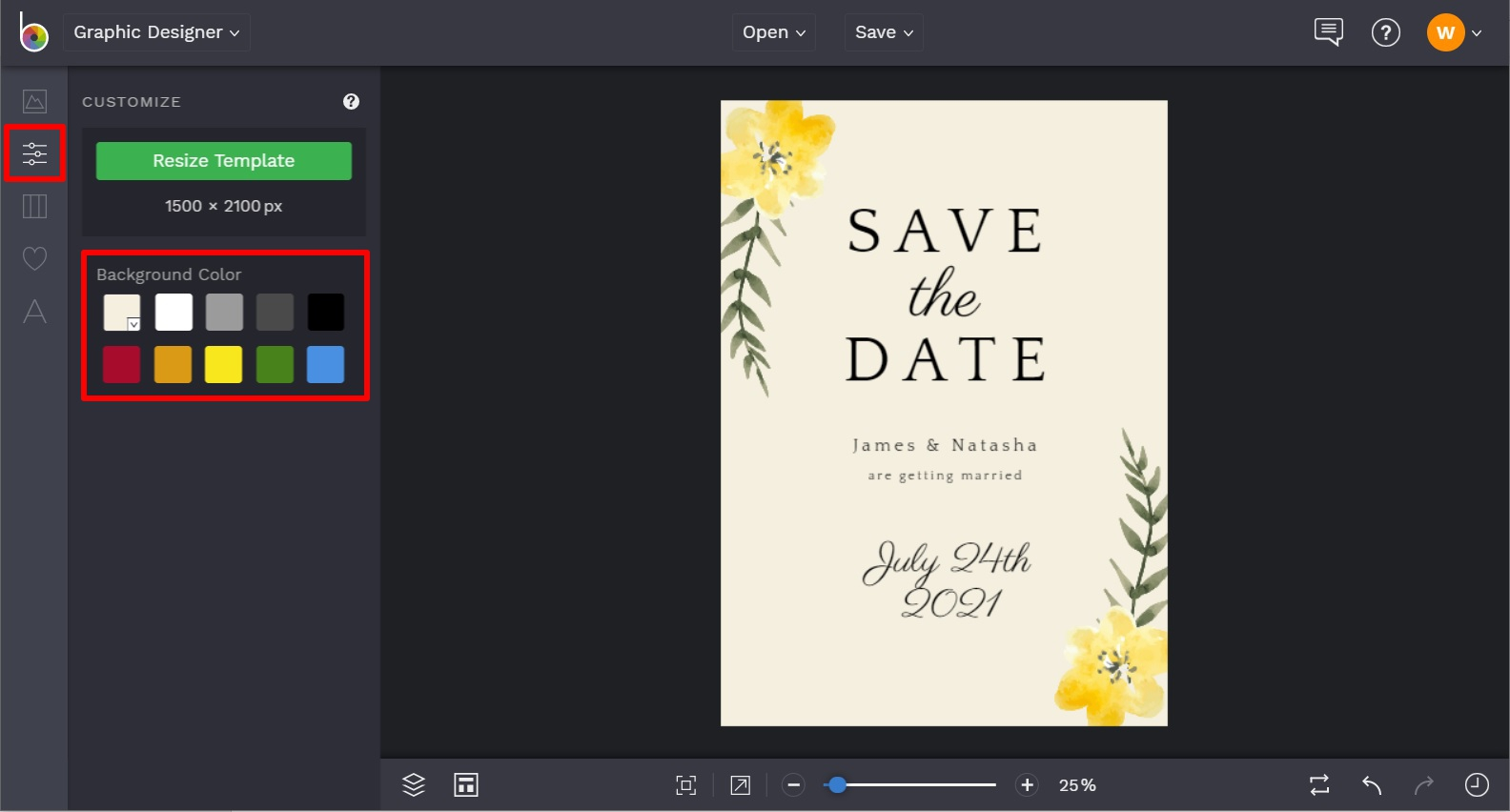 how to change the background color of the design template in BeFunky
